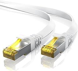 CSL – 20m - Cat 7 Netzwerkkabel Flach | Gigabit Ethernet LAN | Flachbandkabel/Verlegekabel (RJ45) | 10/100/1000 Mbit/s | Patchkabel/Flachkabel | Kompatibel zu Cat.5 / Cat.5e / Cat.6 | weiß