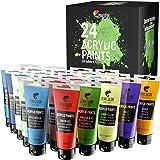Zenacolor - Zestaw 24 farb akrylowych - 24 tubki 120 ml, 24 odcienie, farba do drewna, płótna, potrzeby dla majsterkowiczów/a