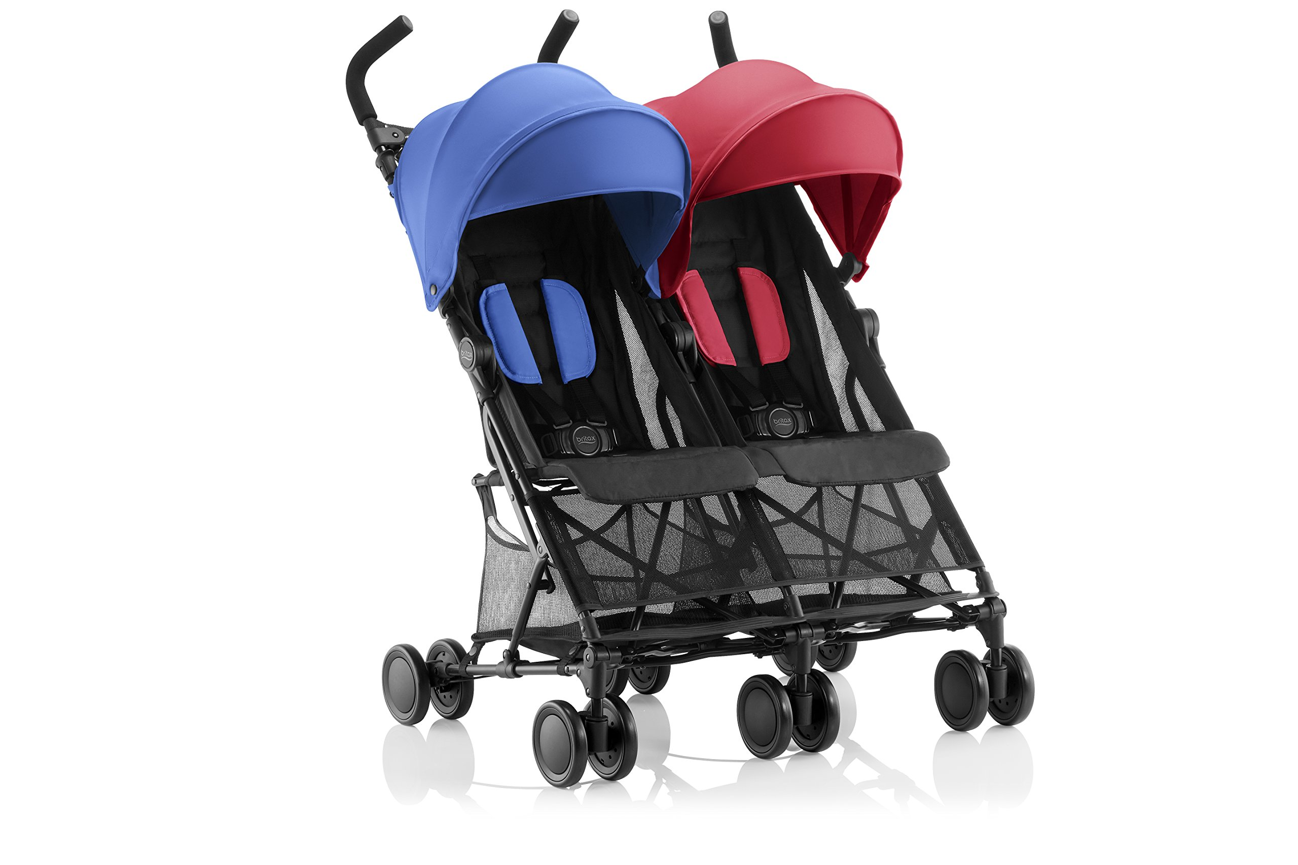 Britax Römer HOLIDAY DOUBLE Pushchair (6 months - 15 kg|3 years ) - Red/Blue  Reclining backrest - you can make your child's journey even more convenient with the reclining backrest. the backrest can be reclined independently which gives you the flexibility to provide a relaxing sleeping position for each child individually. Seat unit with mesh panels - to keep your child comfortable on hot days, the seat unit has mesh panels on the sides and top of the seat unit for better air circulation. Large hood with sun visor - when taking a nice relaxing stroll in the sun, the large hoods with sun visor are independently adjustable and provide protective shade to your little passenger. 3