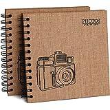 2 PCS Hotipine Vintage DIY Album Photo Scrapbooking Lin en Tissu 40 Noires Pages 20 Feuilles 408 Coin Photo Adhesif Cadeaux d