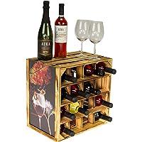 Kistenkolli Altes Land Der Gute Étagère à vin pour 16 bouteilles Blanc/naturel/flammé 40 x 40 x 27 cm