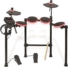 ION Audio Redline Drums, Batteria Elettronica Completa con Pad illuminati, Bacchette, Cuffie, Modulo Sonoro USB e Pedali