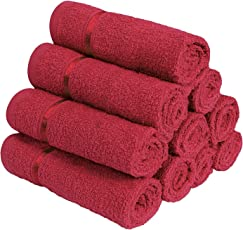Story@Home 100% Cotton Soft Towel Set of 10 Pieces, 450 GSM - 10 Face Towels - Dark Red