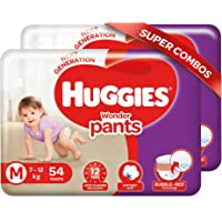 Huggies Wonder Pants, Medium Size Diapers (7 - 12 kg), Combo Pack of 2, 54 Counts Per Pack, 108 Counts