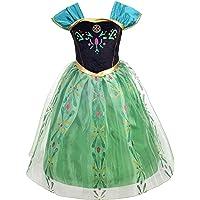 Lito Angels Deguisement Reine des Neiges Robe de Couronnement Princesse Anna Enfant Fille, Anniversaire Fete Carnaval…