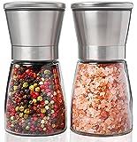 Everteco Salz und Pfeffermühle 2er Set mit einstellbarer Feinheit, Edelstahl Gewürzmühle mit verstellbarem Keramikmahlwerk, Gewürzmühlen Set aus schicken Edelstahl und hübschen Glasbehältern