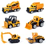 Popsugar 6 Freewheel Construction Metal Car Gift Pack Set Toy for Kids,