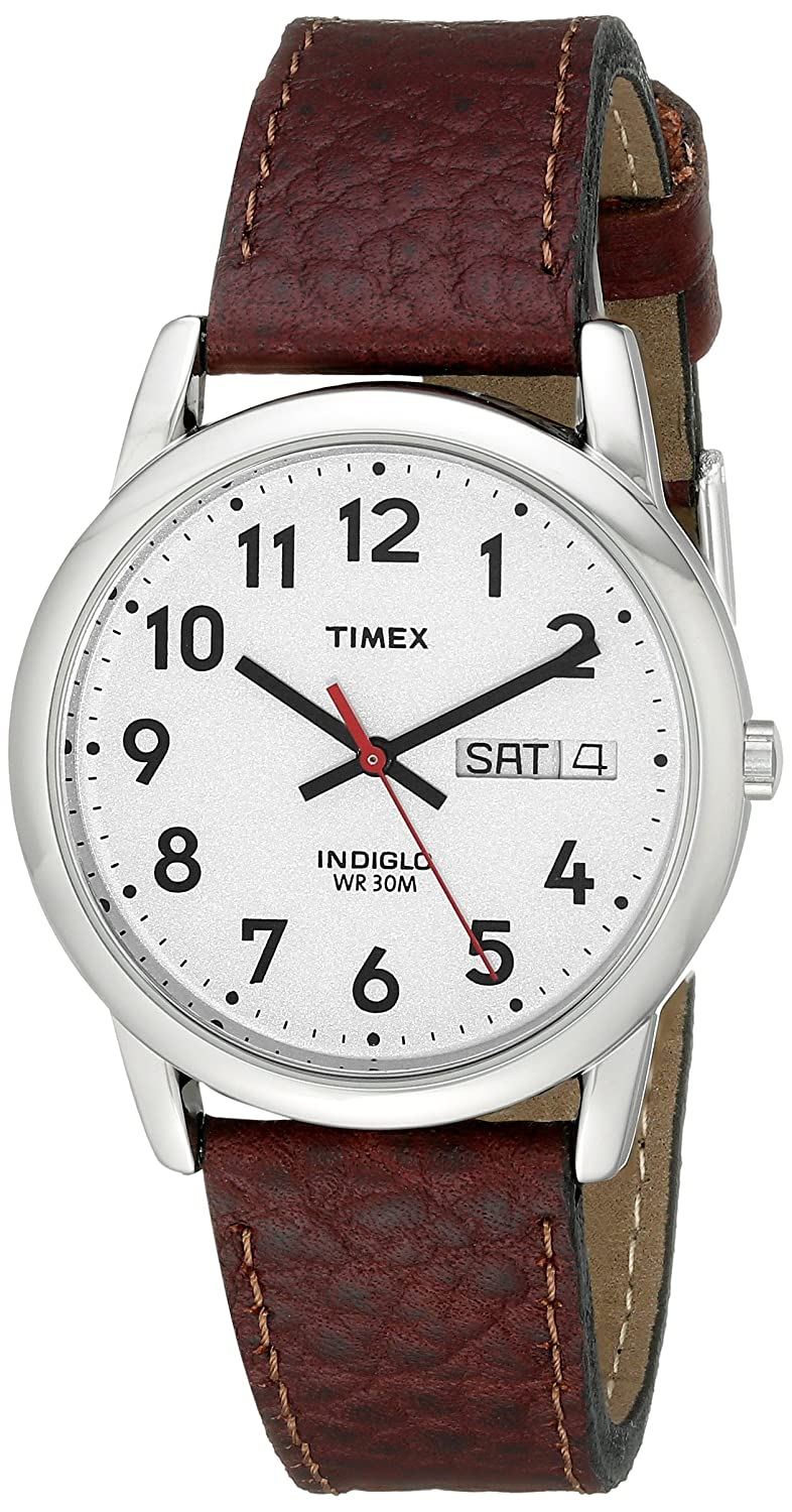 timex men s easy reader brown leather watch t20041 timex timex men s easy reader brown leather watch t20041 timex amazon co uk watches