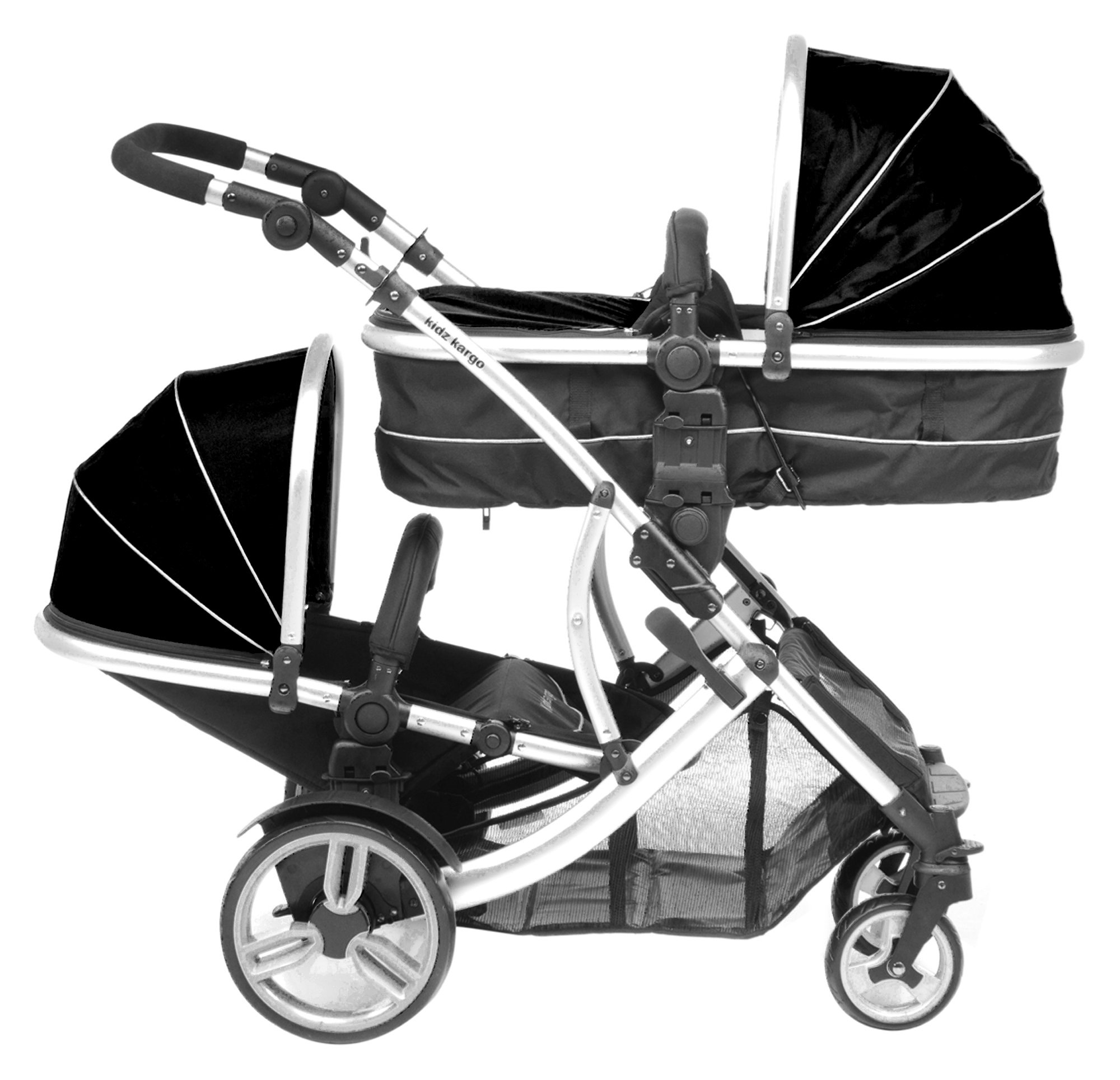 Duellette 21 BS combi Double Pushchair Twin Tandem complete carrycot/converts to seat unit. Free rain covers and 2 free Black footmuffs. Midnight Black by Kids Kargo Kids Kargo Demo video please see link https://www.youtube.com/watch?v=5L8eKWGqoso Various seat positions. Accommodates 1 or 2 car seats Carrycot converts to seat unit incl mattress. Toddler seat from 6 months 5
