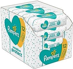 Pampers Sensitive Protect 624 Feuchttücher, 12er Pack (12 x 52 Stück)