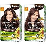 Garnier Color Naturals Creme Hair Color, Shade 4 Brown, & Color Naturals Creme Hair Color, Shade 5 Light Brown, 70ml + 60g