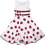 Sunny Fashion Girls Dress Wine Red Polka Dot Circle Print Double Bow Tie Vestido para Niños