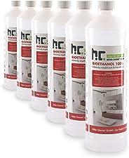Höfer Chemie 6 L Bioethanol 100% Premium (6 x 1 L) für Ethanol Kamin, Ethanol Feuerstelle, Ethanol Tischfeuer und Bioethanol