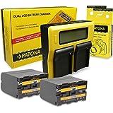 PATONA Dubbel LCD-laddare + 2 x NP-F970-batteri kompatibelt med Sony Videokamera CCD-TR1, CCD-TR200, CCD-TR3000, CCD-TR416