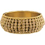 I Jewels 18K Gold Plated Intricately Handcrafted Kada Embellished with Stones For Women (ADB425FL) (Pack of 1)