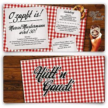 Einladungskarten Zum Geburtstag (30 Stück) Hüttu0027n Gaudi Frühschoppen  Ou0027zapft Is