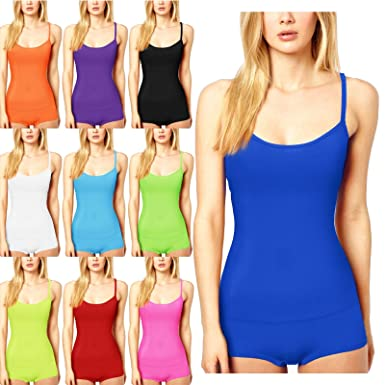 cfdf8f40dc272 WOMENS LADIES GIRLS MICROFIBER HOT PANTS VEST TOP LYCRA DANCE NEON SHORTS  GYM  Amazon.co.uk  Clothing