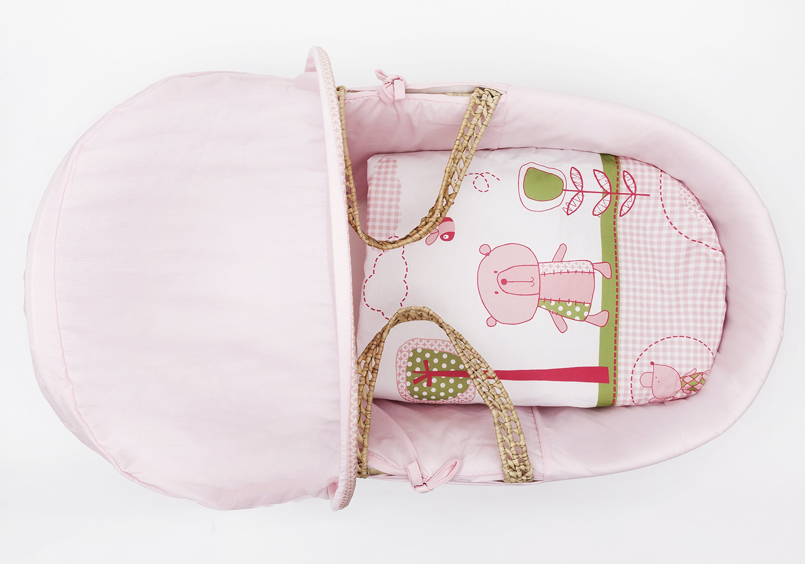 Beary Nice Pink Moses Basket Dressings only(Basket Elegant Baby Dressings For Moses Baskets Includes Padding,Quilt, Liner,Fabric Hood Basket and Mattress and Hood bars are NOT included 3