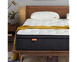 Sweetnight Double Mattress 4FT6 Gel Memory Foam Sprung Mattress 12 Inch Spring Hybrid Breathable Mattress Single Bed, Motion