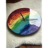 Reloj de pared temático del arco iris de 30 cm de diámetro, arte de resina, decoración, resina, arco iris