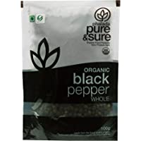 Pure & Sure Organic Whole, Black Pepper, 100g
