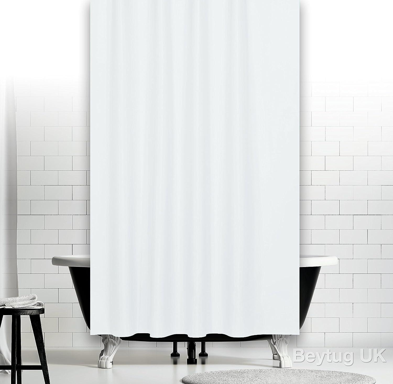 Plain white narrow width textile shower curtain 120CM wide x 200CM ...