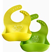 A Baby Cherry Bib 21st Century Waterproof Silicone Bib for feeding infants and toddlers (6M to 5 Yr) - Unisex Set of 2 Silicone Bibs