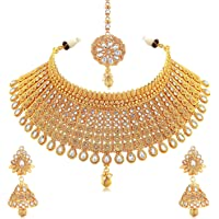 Sukkhi Exclusive Gold Plated Wedding Jewellery Kundan Choker Necklace Set For Women (N73395)