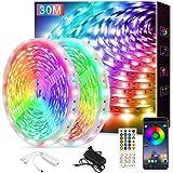 Ruban LED 30M(15m*2) Bande LED 5050 RGB 540 LEDs Bande Lumineuse Flexible Multicolore avec Télécommande à 40 Touches, Synchro