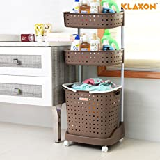 Klaxon Laundry Basket - Movable Plastic Cloth Storage Laundry Basket - 3 Shelf (Brown)