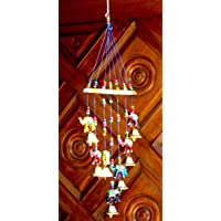 Craft Junction Handcrafted Elephant Design Wood Windchime (18 inch, Multicolor)