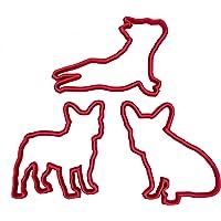 Set di 3 Tagliabiscotti a forma di cucciolo di Bulldog Francese