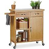 Relaxdays Wózek kuchenny z drewna, bambus, 4 kółka, blat roboczy z marmuru, z szufladami, wys. x szer. x gł.: 85,5 x 89,5 x 3