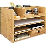Navaris Organisateur de bureau - Boîte de rangement 33 x 24 x 26 cm en bambou avec 1x tiroir et compartiments - Organiseur fo