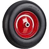 Relaxdays Kruiwagenwiel 4.80 4.00-8, massief rubberen banden en stalen velg, reservewiel lekvrij, 100 kg draagvermogen, zwart