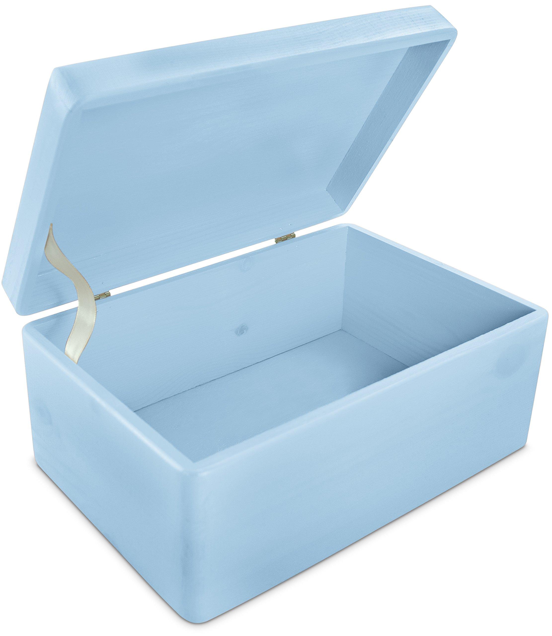 LAUBLUST Große Holzkiste mit Deckel - 30x20x14cm, Blau, FSC® | Allzweck-Kiste aus Holz - Aufbewahrungskiste | Spielzeug…