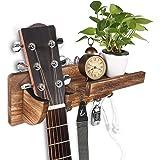 Support Mural Guitare, HALOVIE Porte Guitare Mural en Bois avec Crochet Plus Étagère Flottante et Rangement pour Médiators, A