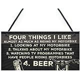 RED OCEAN Man Cave Motorbike Motorcycle Biker Dad Gift For Him Hanging Plaque Vintage Sign Garage Wall Decor
