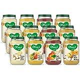 Olvarit Variatiemenu Fruit - fruithapje voor baby's vanaf 6+ maanden - 4 verschillende smaken babyvoeding - 12 fruitpotjes va