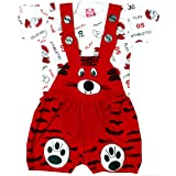 SAS Baby Girl Baby Boys Dungaree Set for Kids, a Fashioned Product,Print of t Shirt Might Differ