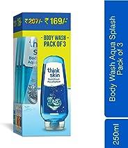 Think Skin Body Wash - Aqua Splash, Shower Gel, 250 ml (Pack of 3)