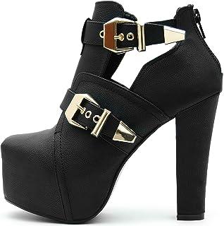 655e1f5dfda0e2 Kayla Shoes Plateau Spitze stickerei Boots Holzabsatz Optik  Amazon ...