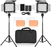 Emart LED Photo Video Light - Dimmable 176 LED Panel Lighting Kit with 4.3 ft Light Stand, Color Filters, Rechargeable Batter