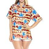 LA LEELA Women's Regular Classic Hawaiian Beach Shirt Floral Print Short Sleeves Collared Summer Tops Red_X26 XXL