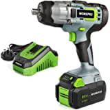 """WORKPRO 20V Cordless Impact Wrench Lightweight, 4.0Ah Li-ion Battery (Fast Charger), 1/2"""" Chuck, 2 Mode Forward/Reverse…"""