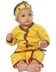 FOCIL Krishna Dhoti Kurta Dress for Kids (Pack of 4-Basuri,Mor Pankh Mukut,Bandhni Patka & Dhoti Kurta)