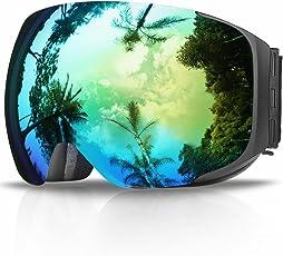 Skibrille, eDriveTech Ski Snowboard Brille Brillenträger Schneebrille Snowboardbrille Verspiegelt- Für Skibrillen Damen Herren - OTG UV-Schutz Anti Fog Verbesserte Belüftung für Skifahren, Snowboarden