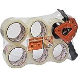 Brackit Duidelijke verpakkingstape met dispenser, 48 mm x 66 m, 6 rollen - sterke zware verpakkingstape voor regelmatig gebru