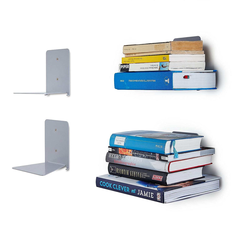 Lumaland Mensola scaffale Libri invisibile in Metallo 4 pezzi ...