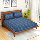 CORE Designed by SPACES Seasons Best Printz Blue Double 104 Tc Cotton 1 Double Bed Sheet with 1 Pillow Cover
